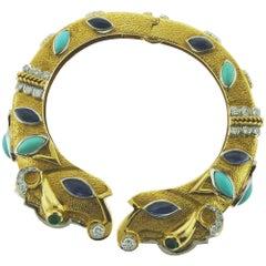 18 Karat Gold and Platinum Sapphire Turquoise Diamond Emerald Bracelet