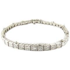 Antique Platinum Diamond Tennis Bracelet 4.4 Carat