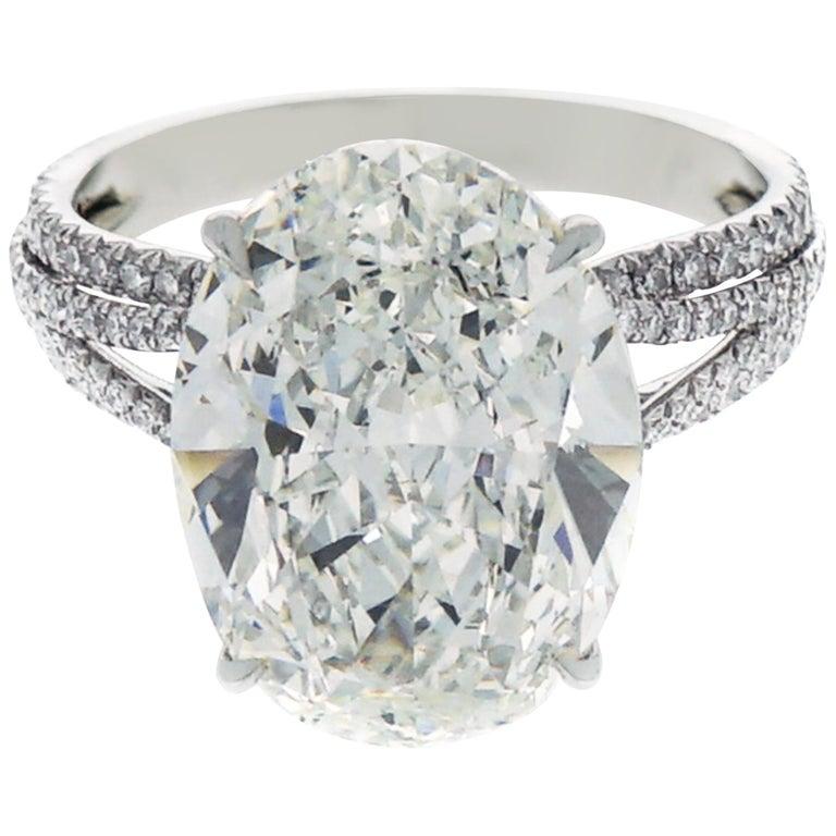 GIA Certified 8.76 Carat Oval Kwiat Diamond Platinum Engagement Ring