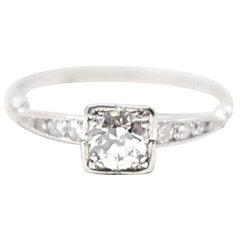 Retro 0.51 Carat Diamond Platinum Engagement Ring, 1950s
