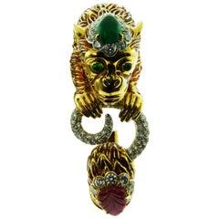 18 Karat Gold and Platinum Ruby Emerald Diamond Bracelet