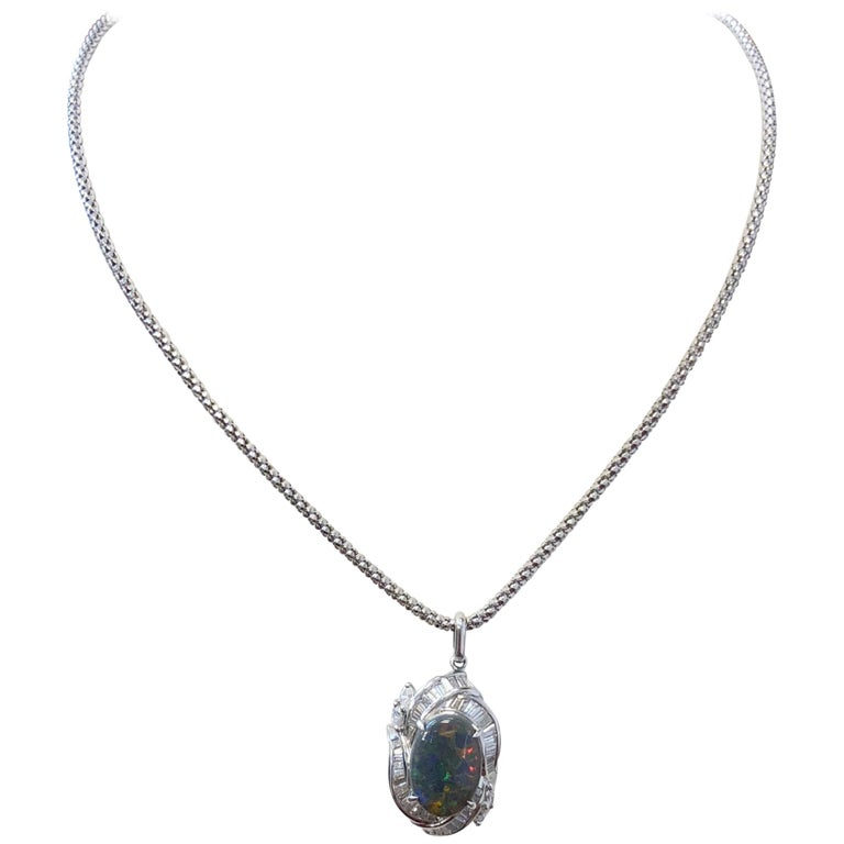 Black Opal Oval Cabochon and White Diamond Pendant Necklace