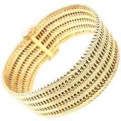 18 Karat Wide Chevron and Ladder Design Wide Cuff Bracelet