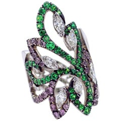 Tsavorite Pink Sapphire and Diamond Arabesque Ring