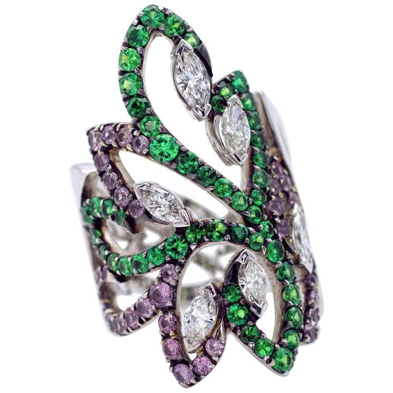 Tsavorite Pink Sapphire and Diamond Arabesque Ring
