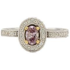 GIA Certified 0.38 Carat Purple Diamonds Engagement Ring