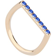 18 Karat Yellow Gold and Blue Sapphire Stacking Ring