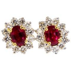 GIA Certified 3.68 Carat Natural Ruby Diamond Earrings 18 Karat