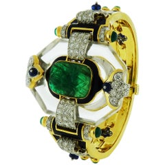 18K Gold & Platinum Emerald Crystal Sapphire Diamond Cross River Bracelet, Webb