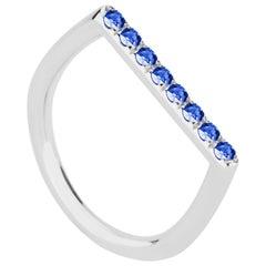 18 Karat White Gold and Blue Sapphire Stacking Ring
