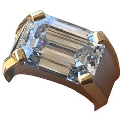 7.21 Carat Emerald Cut Diamond Men's Ring E Color SI1 Clarity GIA Certified
