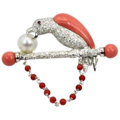 Platinum Diamond Coral Pearl Parrot Brooch on Bar Branch