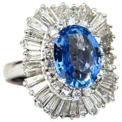 GIA Certified 6.35 Carat Natural Blue Sapphire Diamonds Ballerina Ring Platinum