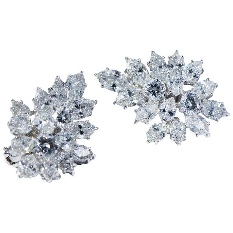 Platinum Diamond Clip-On Earrings