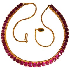 33.19 Carat Natural Ruby Tennis Necklace 18 Karat Prime Vivid Reds