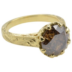 Bohemian Chocolate Round Diamond Yellow Gold Ring Engraved