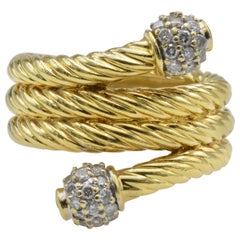 David Yurman 18 Karat Yellow Gold and Diamond Ring