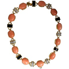 4.25 Carat Natural Diamonds Pink Coral and Black Onyx Link Necklace 18 Karat