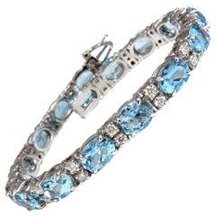 18.77 Carat Natural Aquamarine Diamonds Tennis Bracelet 14 Karat Aqua Blue
