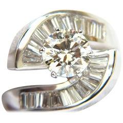 2.96 Carat Round Cut Diamond Crossover Baguette Ring VS Classic