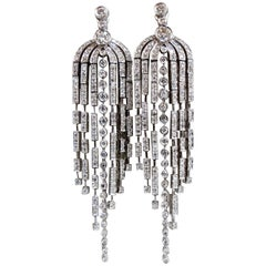 5.10 Carat Natural Round Diamonds Dangle Six Arch Chandelier Diamond Earrings