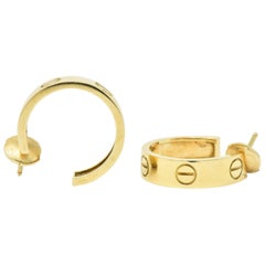 Cartier Love Collection Hoop Earrings 18 Karat Yellow Gold