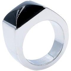 Cartier Large Tank 18 Karat White Gold Black Onyx Ring