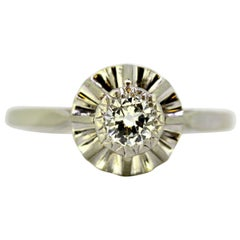 Art Deco 18 Karat White Gold Ladies Ring with Diamond, Made in France