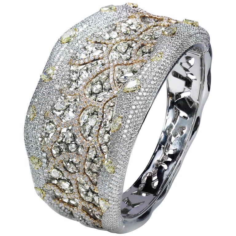 Studio Rêves 18K Rose Cut and Brilliant Cut Diamond Carpet Cuff Bracelet
