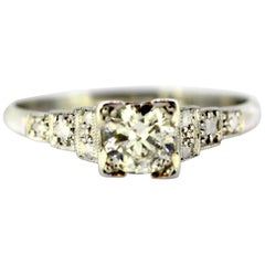 Art Deco Platinum Ladies Ring with 0.64 Carat Diamonds, Made in France
