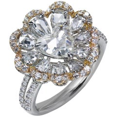 Studio Rêves 18K White and Rose Gold 0.90 Carat Heart Rose Cut Floral Ring