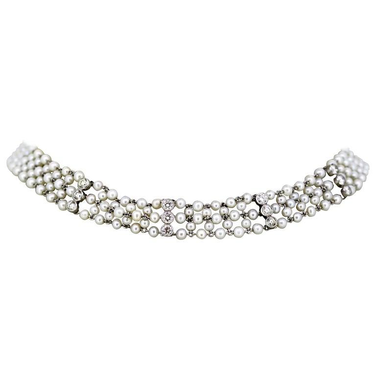 Art Deco Ladies Platinum Freshwater Pearl Choker Necklace with Diamonds