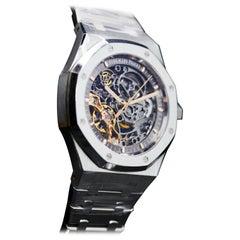 Audemars Piguet Stainless Steel Royal Oak Double Balance Skeleton Wristwatch