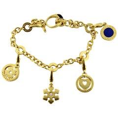 Bvlgari, Classic Onyx Lapis 18 Karat Gold Ladies Charm Bracelet, Made in Italy