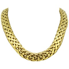 Van Cleef & Arpels, Vintage 18 Karat Yellow Gold Ladies Choker Necklace, 1995