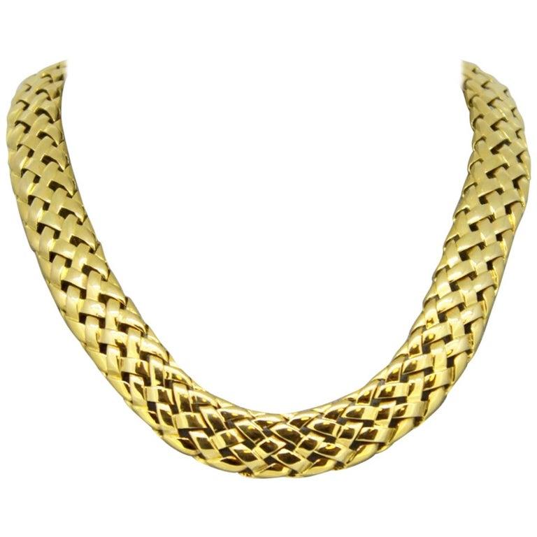 Van Cleef & Arpels, Vintage 18 Karat Yellow Gold Ladies Choker Necklace, 1995