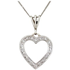 1960s Italian Diamond and White Gold Heart Pendant