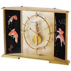 "Jaeger Le-Coultre Hand-Painted Skeleton Enamel ""Koi Fish""  Ref. 491 Desk Clock"