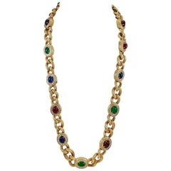 Van Cleef & Arpels Diamond, Cabochon Ruby, Emerald, Sapphire Necklace