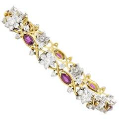 3.45 Carat Ruby Diamond 14 Karat Two-Tone Gold Bracelet