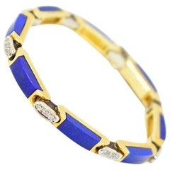 Alluring Tiffany & Co. Lapis Diamond Bracelet 18 Karat Gold, circa 1970