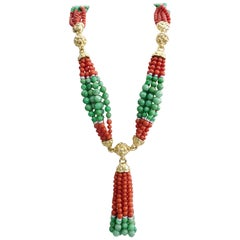 David Webb 18 Karat Gold and Platinum Coral Jade Diamond Tassel Necklace