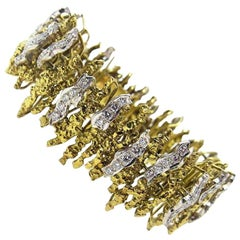 Chunky Modernist 18 Karat Yellow Gold Modern Diamond Bracelet