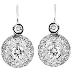 Diamond White Gold Lever Back Drop Earrings