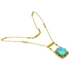 Tiffany & Co. Louis Comfort Opal Demantoid Garnet and Sapphire Pendant Necklace