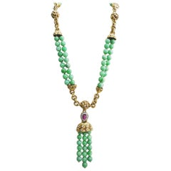 David Webb 18 Karat Yellow Gold and Platinum Jade Ruby Diamond Necklace