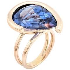 14 Karat Yellow Gold Pear Shaped Synthetic Alexandrite Ring