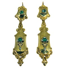 Antique Victorian 18 Karat Emerald and Seed Pearl Chandelier Earrings