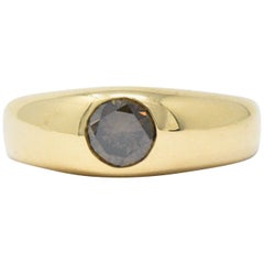 0.65 Carat Brown Diamond and 18 Karat Gold Unisex Ring