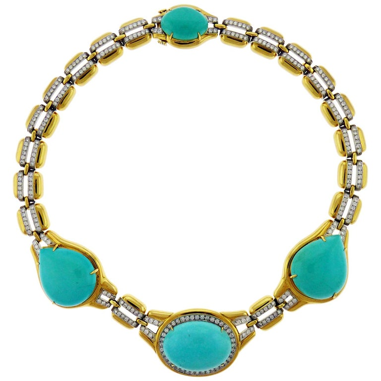 David Webb 18 Karat Yellow Gold and Platinum Turquoise and Diamond Necklace